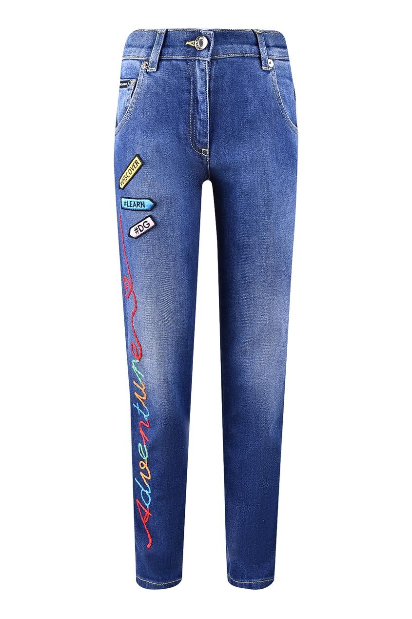 Детские голубые джинсы с вышивкой Dolce&Gabbana Children