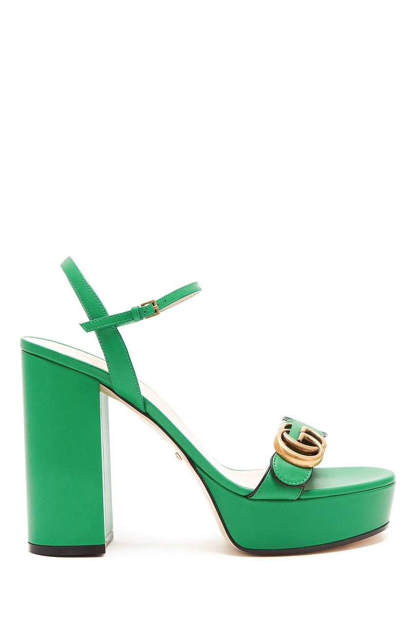Зеленые босоножки GG Marmont Gucci