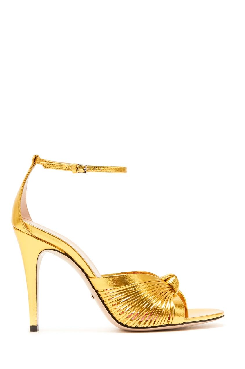 женские босоножки gucci, золотые