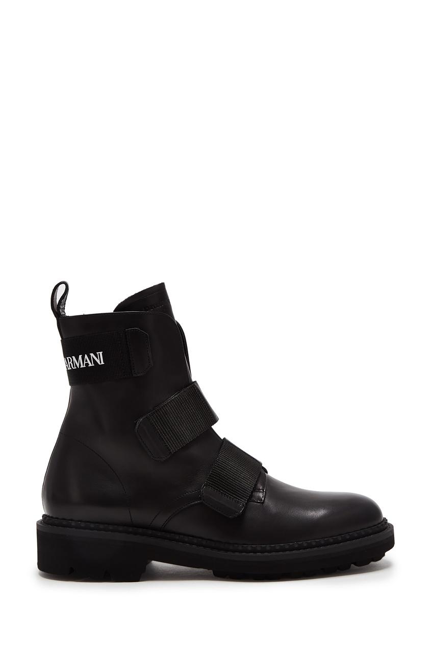 Купить со скидкой Черные кожаные ботинки