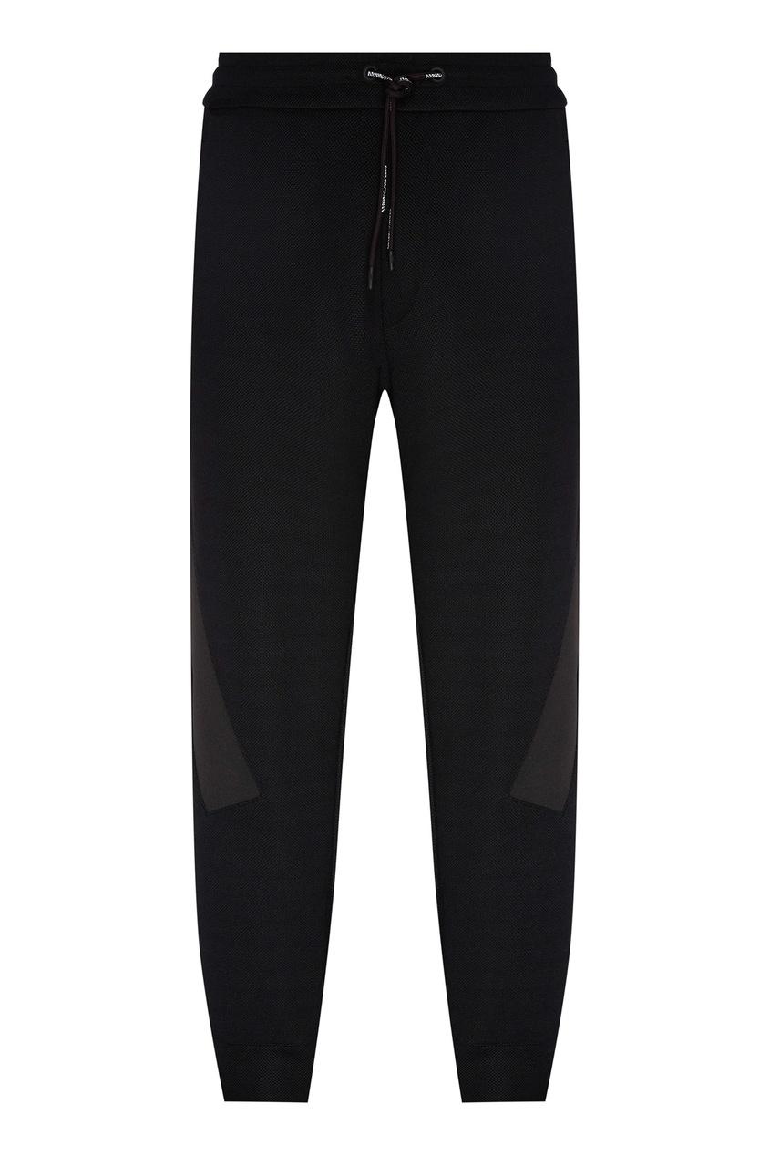 Купить со скидкой Черные брюки-джоггеры с комбинированной отделкой