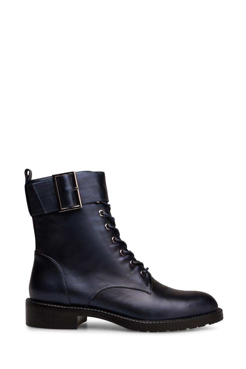 Фото - Темно-синие ботинки с ремнем от Portal синего цвета