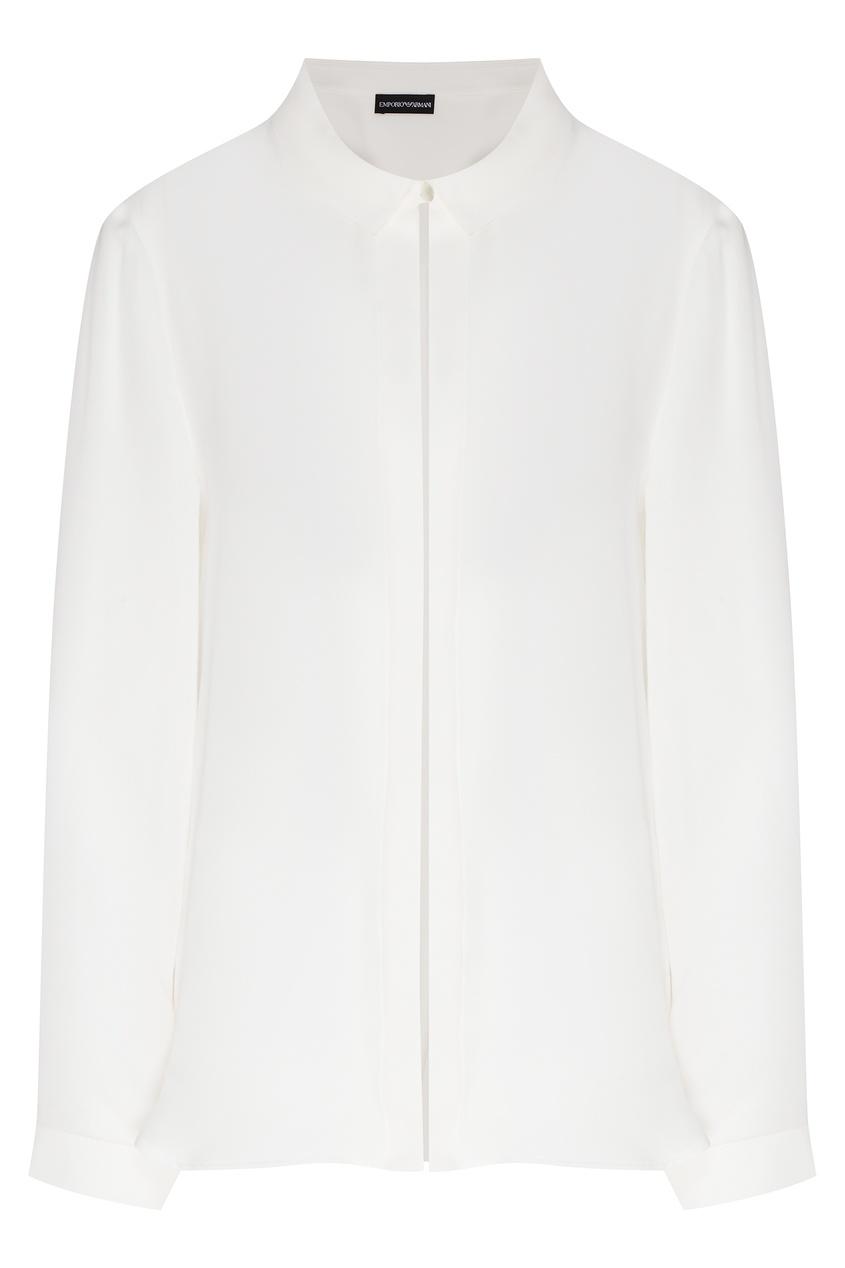 Белая рубашка из шелка от Emporio Armani