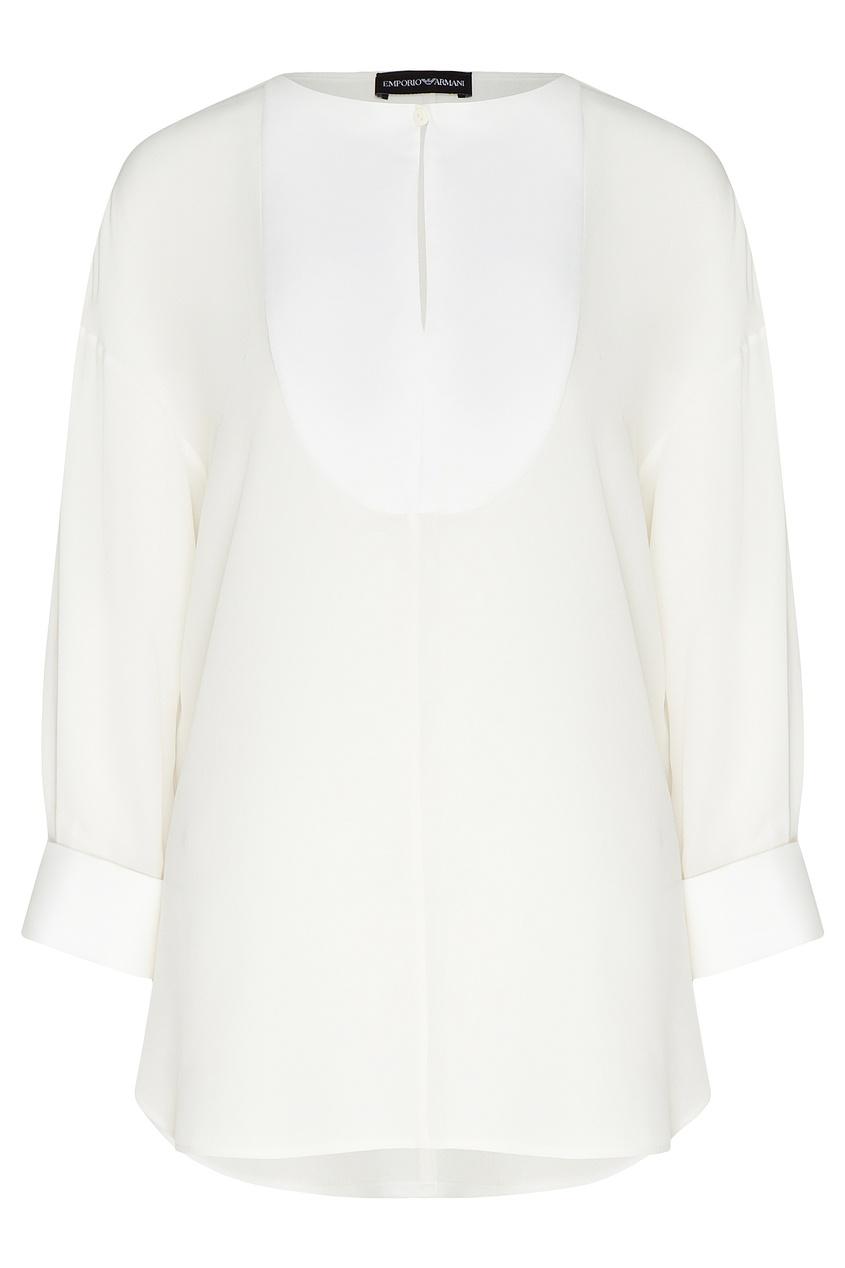 Белая шелковая блуза от Emporio Armani