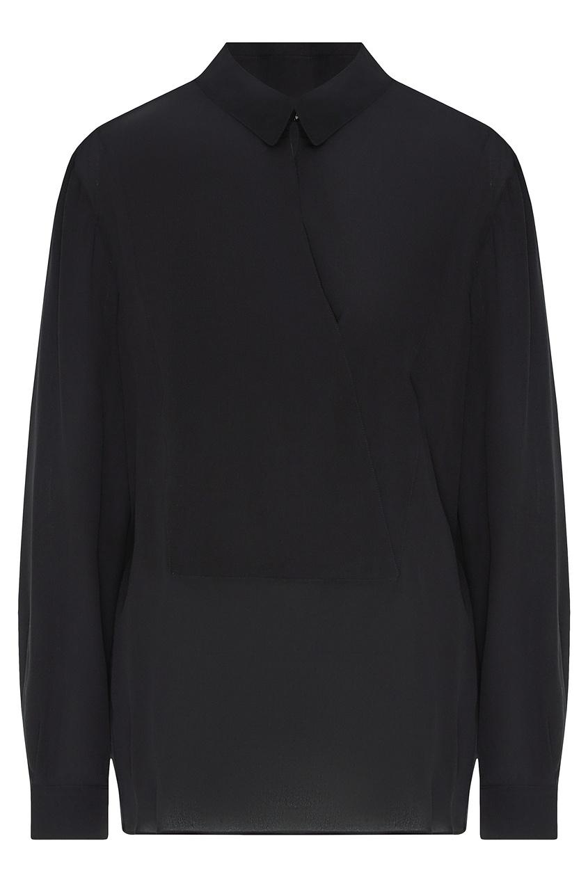 Шелковая рубашка черного цвета от Emporio Armani