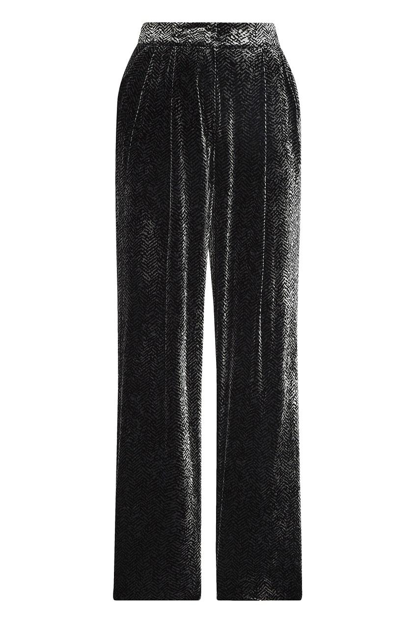Фото - Бархатные брюки с узором от Emporio Armani цвет multicolor