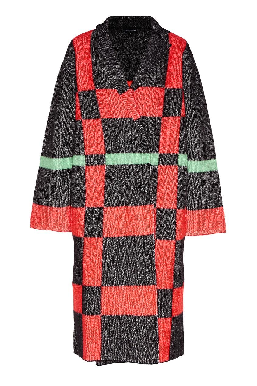 Яркое пальто из шерсти и хлопка от Emporio Armani