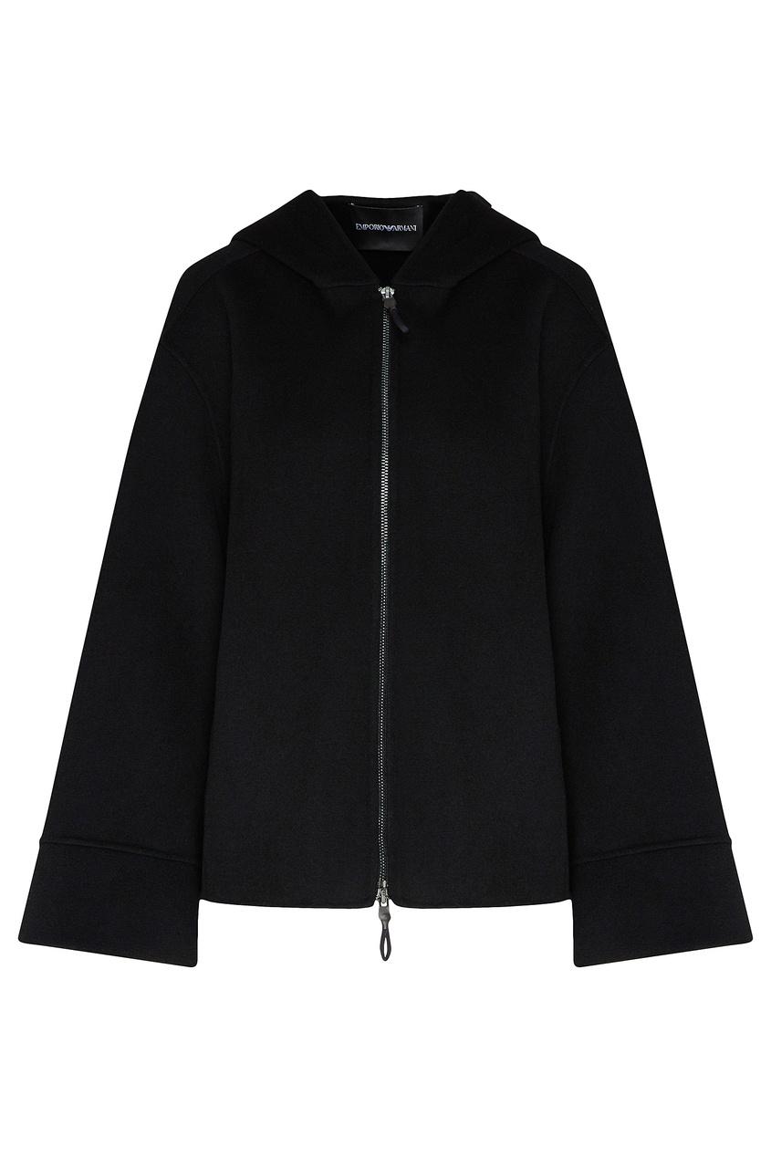 Черная кашемировая куртка от Emporio Armani