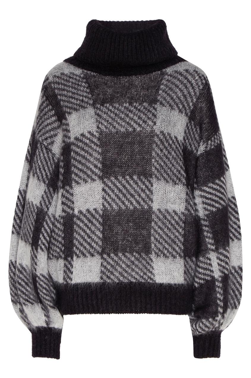 Купить со скидкой Черно-серый свитер в клетку