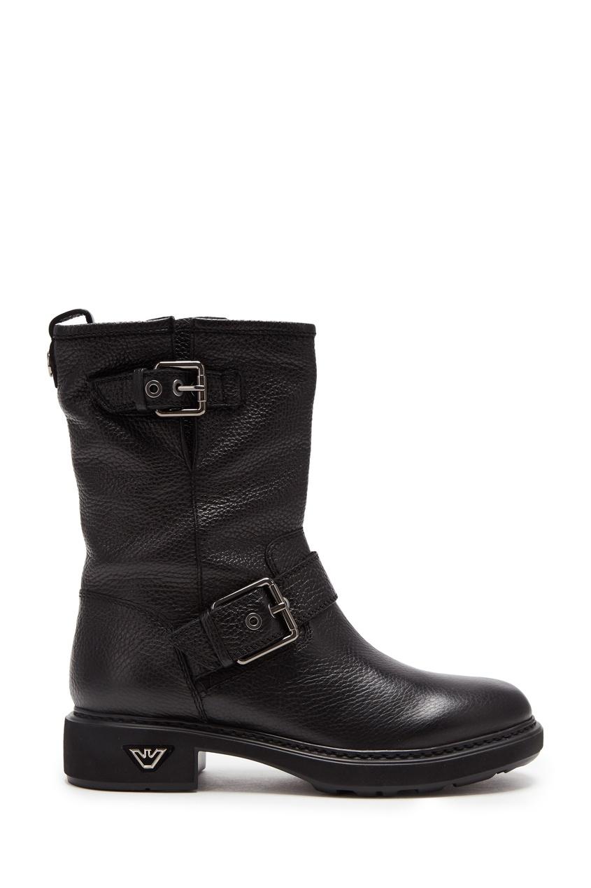 Кожаные ботинки черного цвета от Emporio Armani