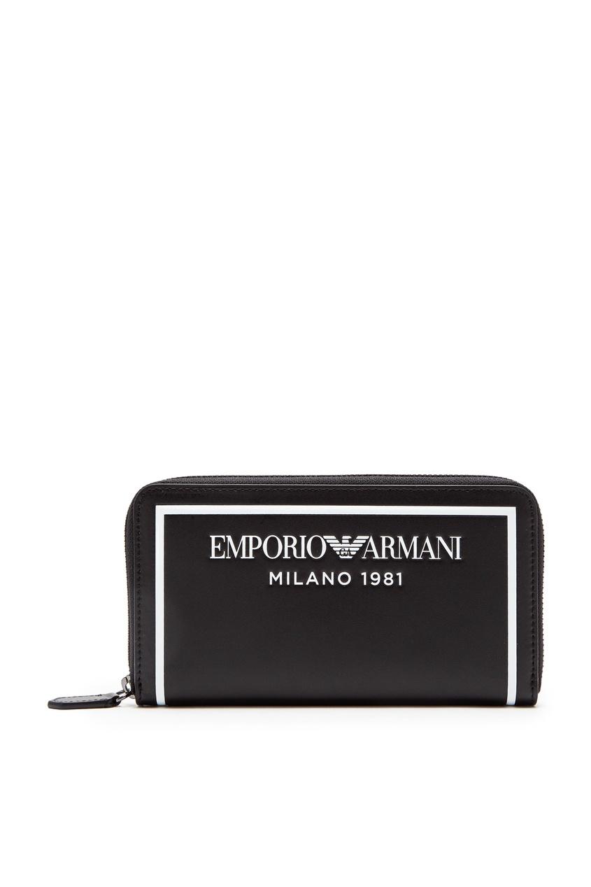 Черный кошелек с контрастной окантовкой от Emporio Armani