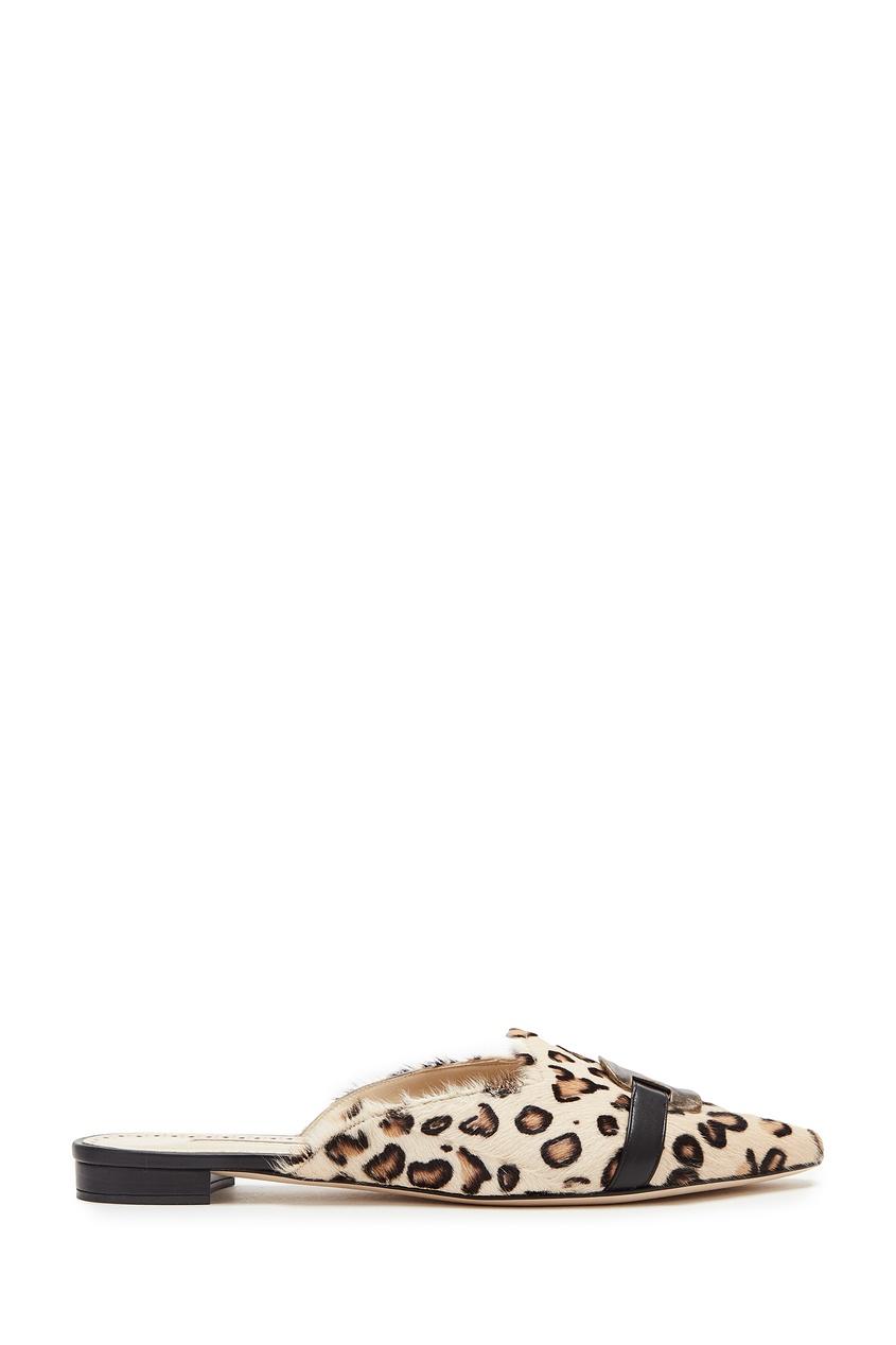 Леопардовые мюли с отделкой Sewe Manolo Blahnik