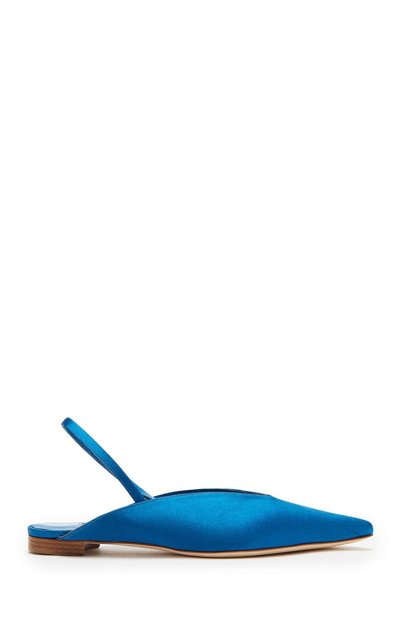 Голубые атласные слингбэки Wesli Manolo Blahnik