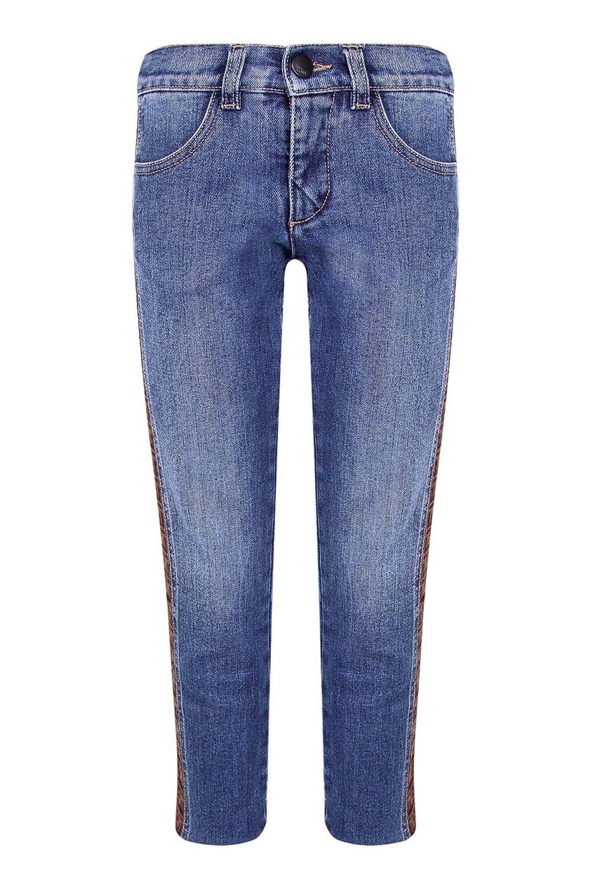 Голубые джинсы с лампасами Fendi Kids