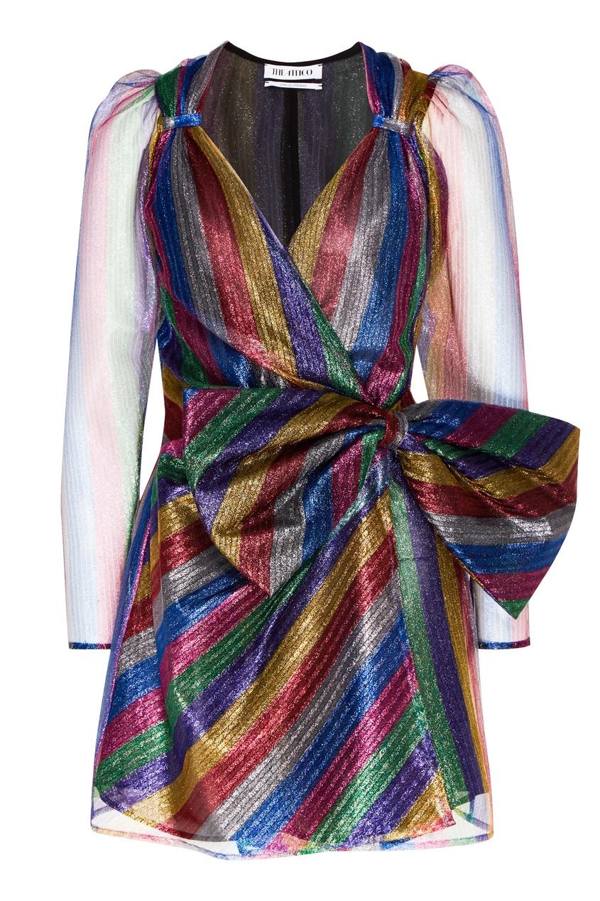 Блестящее платье из разноцветного тюля Attico 1869154993 Multicolor фото
