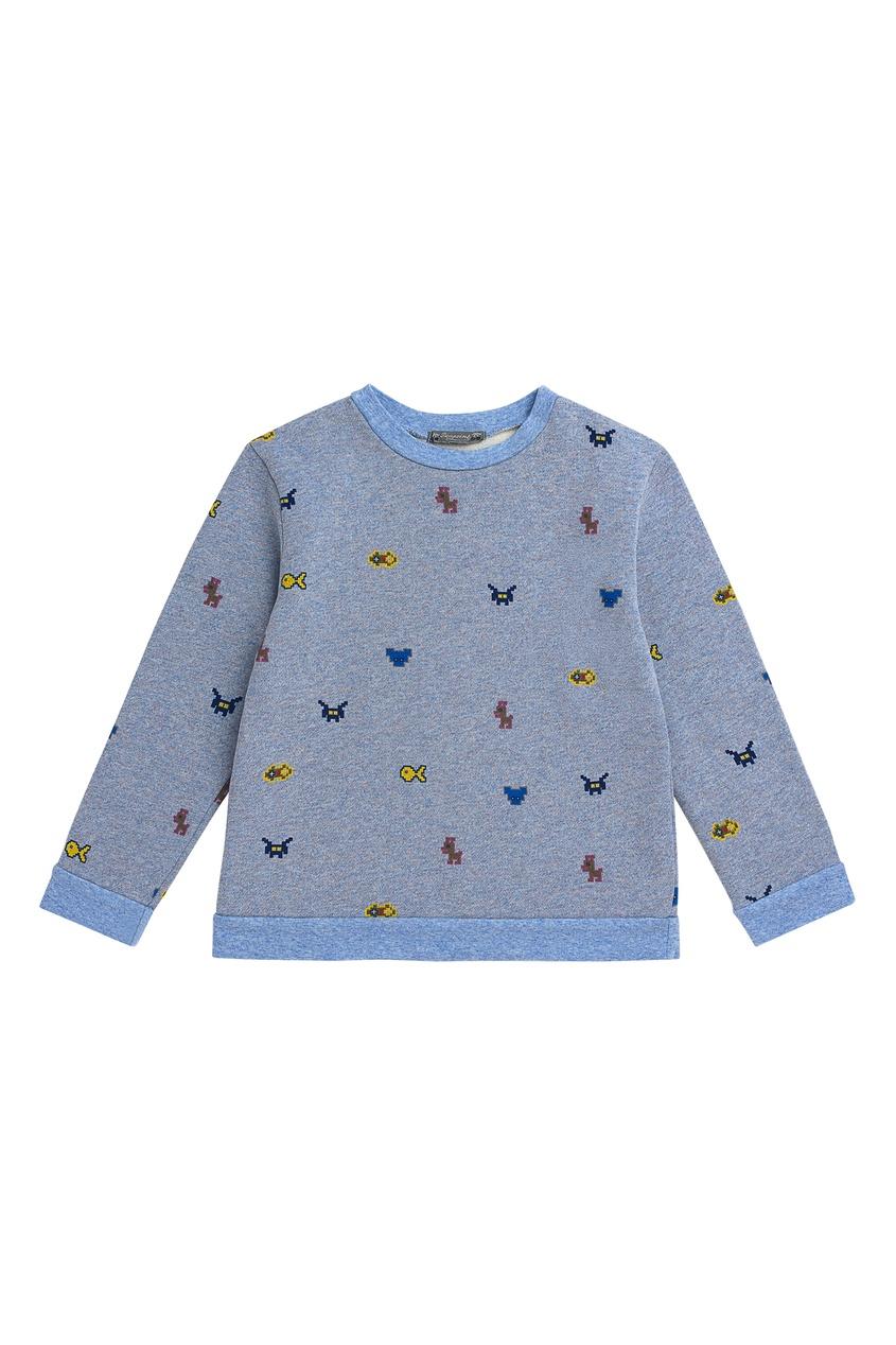 Голубой трикотажный свитер на мальчика от Bonpoint