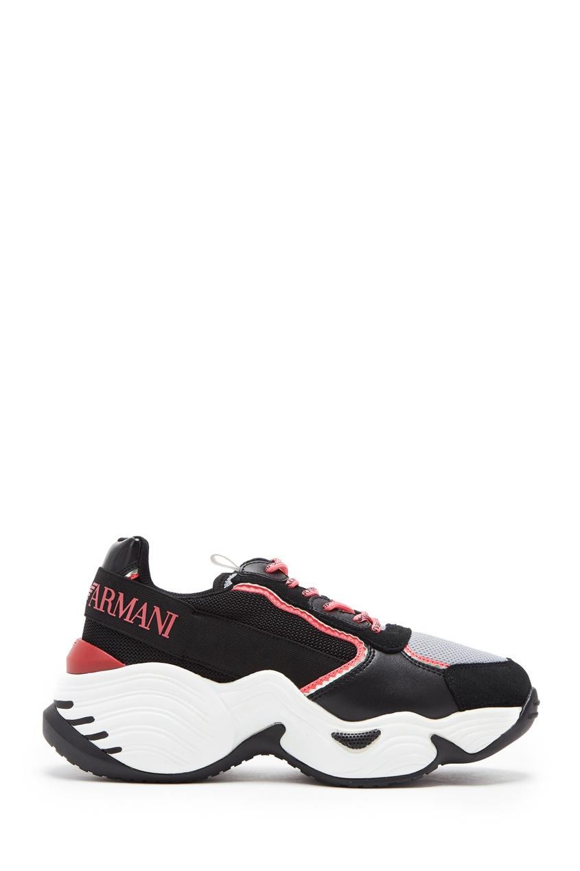 Черные кроссовки с неоновыми шнурками от Emporio Armani
