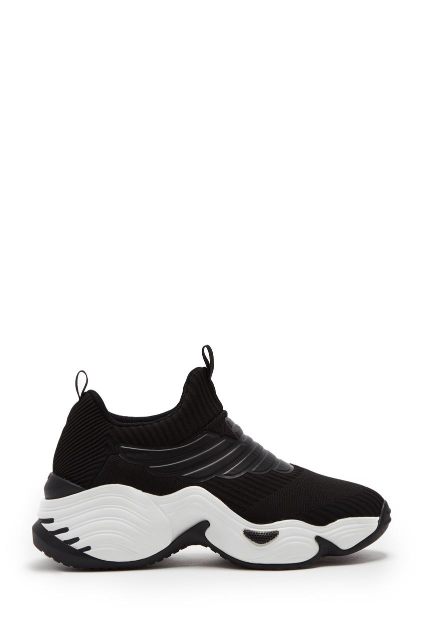 Черные кроссовки из трикотажа от Emporio Armani