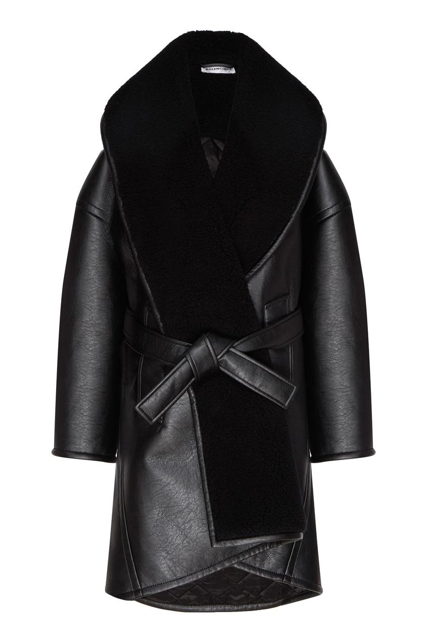 женское пальто balenciaga, черное