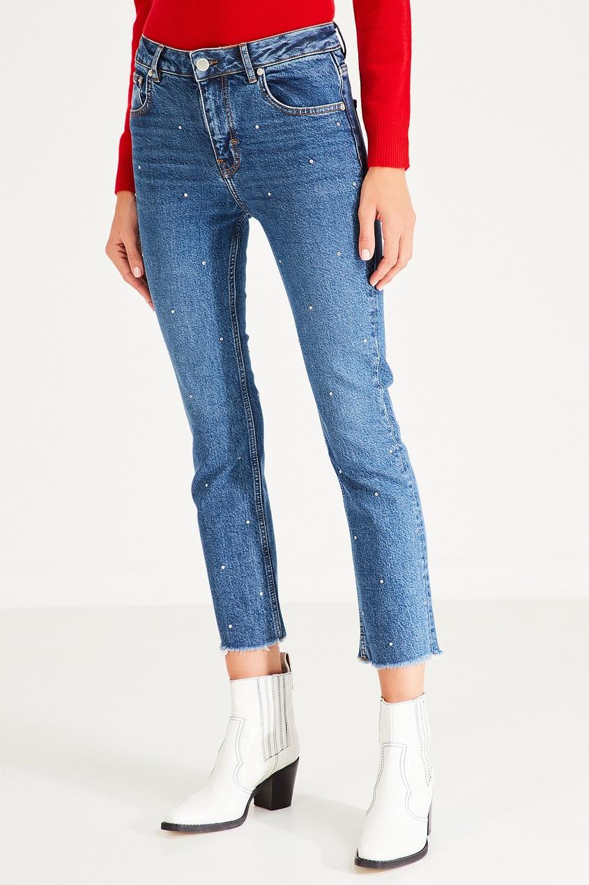 Фото 3 - Синие джинсы с контрастной отделкой от Maje синего цвета