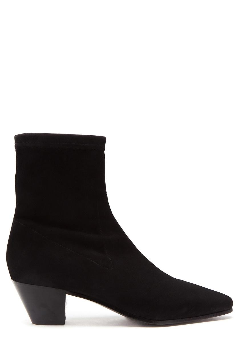 Купить со скидкой Черные ботинки из замши