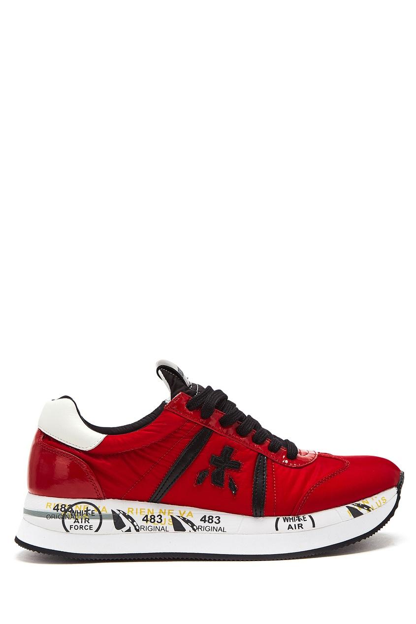 Купить со скидкой Красные кроссовки из текстиля и кожи Conny