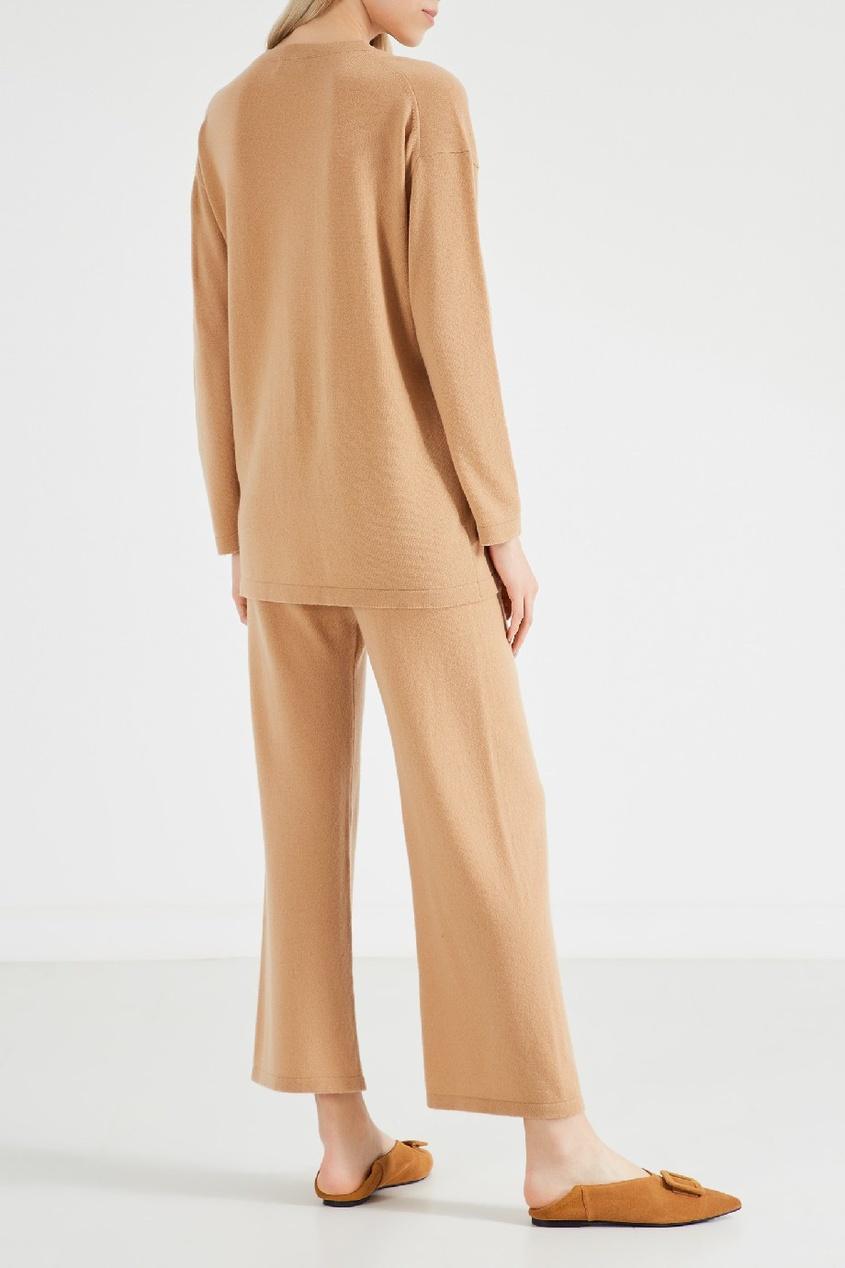 Фото 3 - Укороченные трикотажные брюки от Alena Akhmadullina бежевого цвета