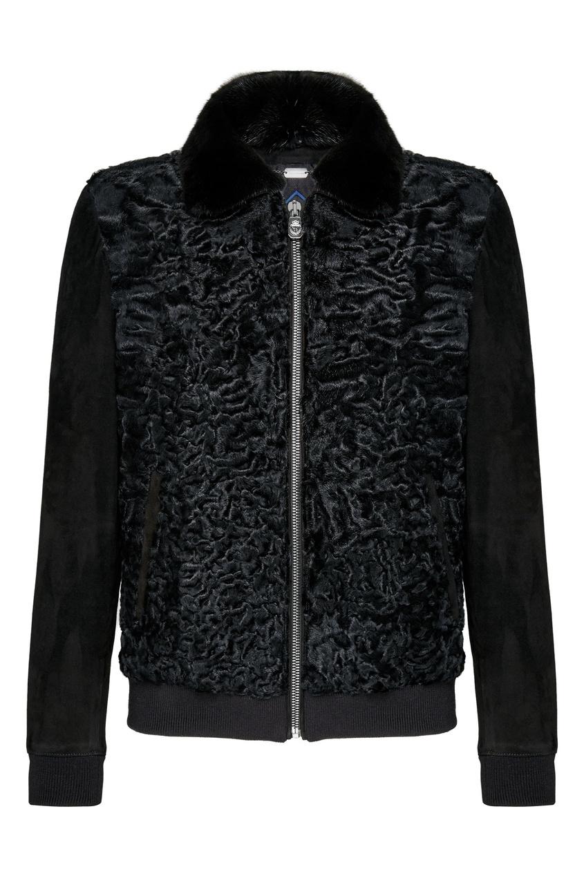 мужская кожаные куртка billionaire, черная