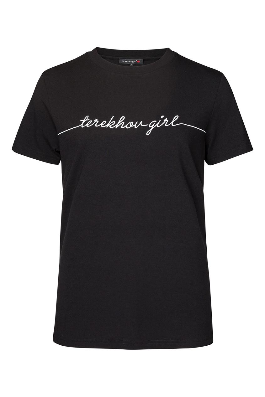 Фото - Футболку черного цвета с надписью от Terekhov Girl черного цвета
