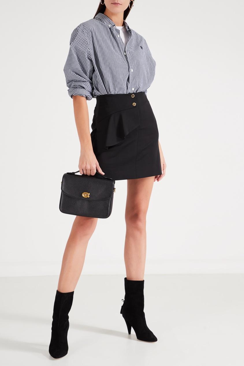 Фото 2 - Черная кожаная сумка-кроссбоди Cassie от Coach черного цвета