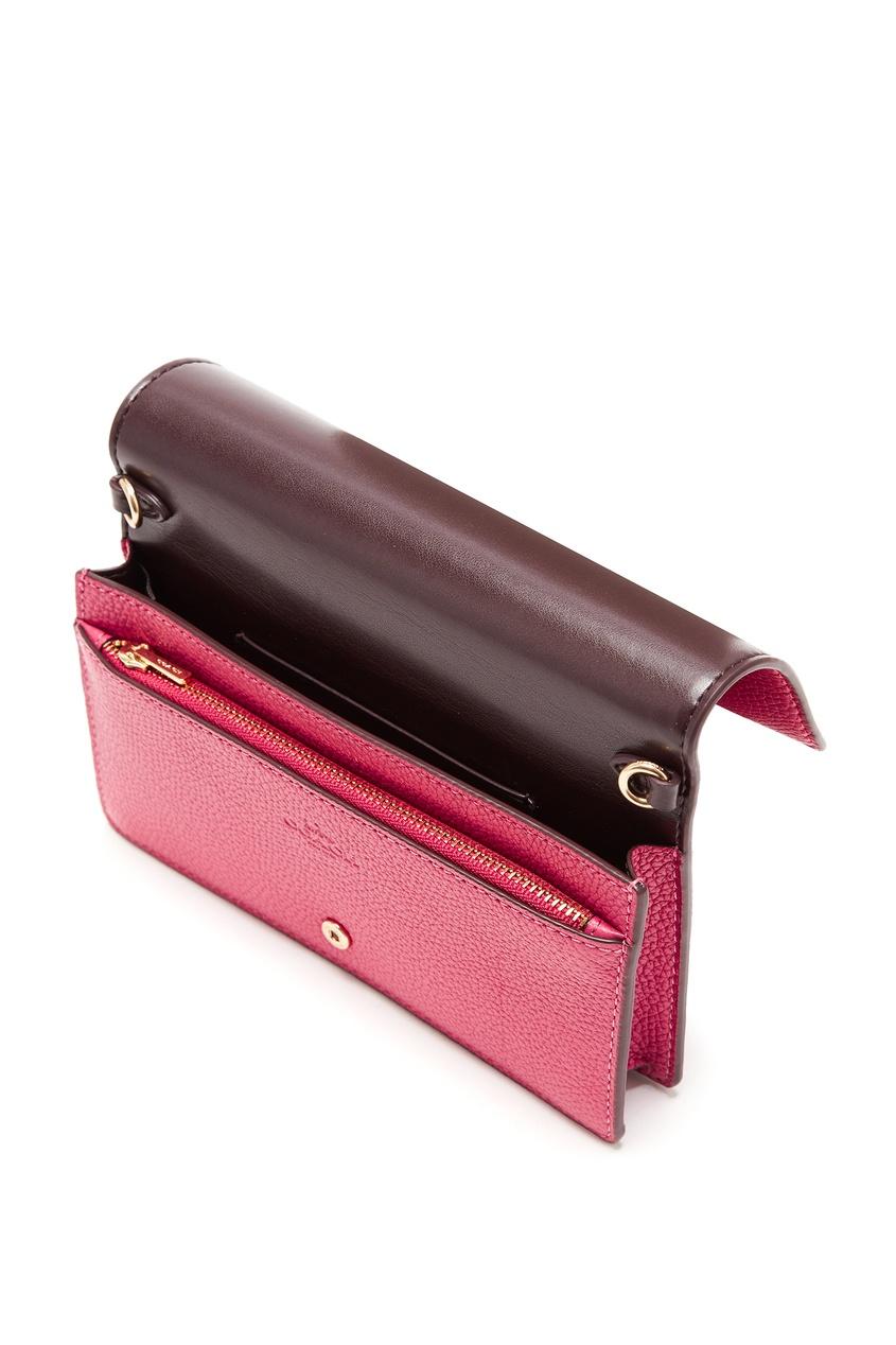 Фото 4 - Розовый клатч-кроссбоди Hayden Foldover от Coach красного цвета