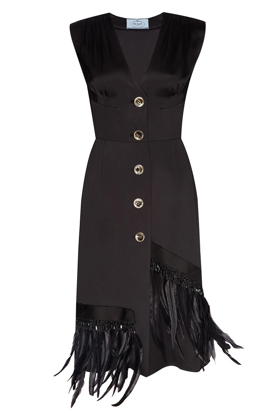 Атласное платье с перьями Prada - Черное платье из однотонной ... 4f6504aabed